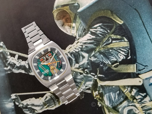 "Bulova Accutron Spaceview Steel Double Cushion ""T"" With Original Bracelet"