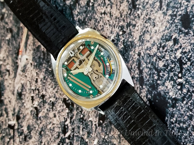 Bulova Accutron Two Tone Asymmetric Spaceview Vintage Watch with 14K Gold Insert