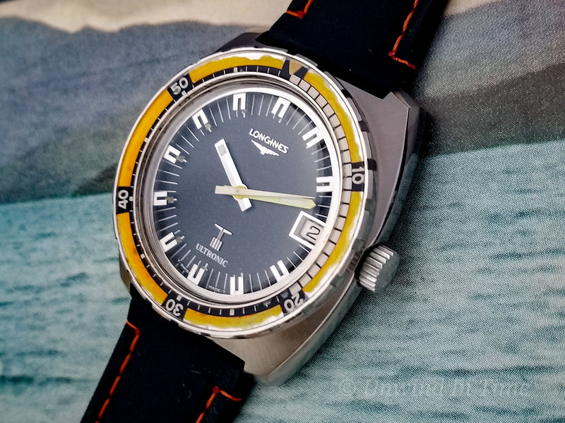 Longines Ultronic Dive Watch Orange Bezel Steel