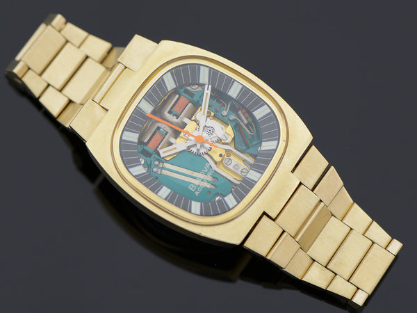"Bulova Accutron Spaceview Gold Tone Double Cushion ""T"" With Original Bracelet"