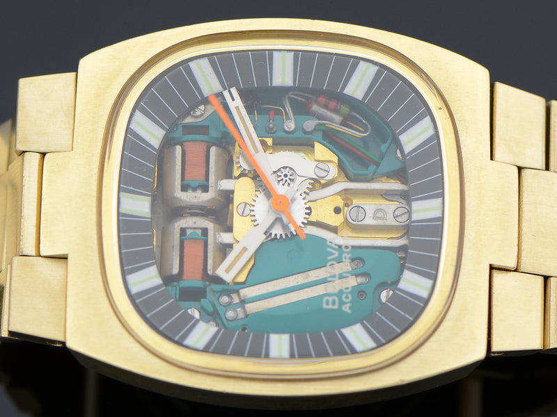 "Bulova Accutron Spaceview Gold Tone Double Cushion ""T"" Vintage Watch With Original Bracelet"