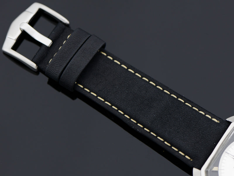 Brand New Leather Bull Black Watch Band with matching Silver Colored Buckle