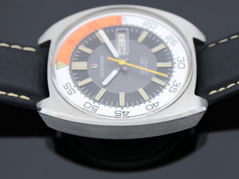 Bulova Accutron Deep Sea 666 Diver Orange/White Bezel Ring Vintage Watch