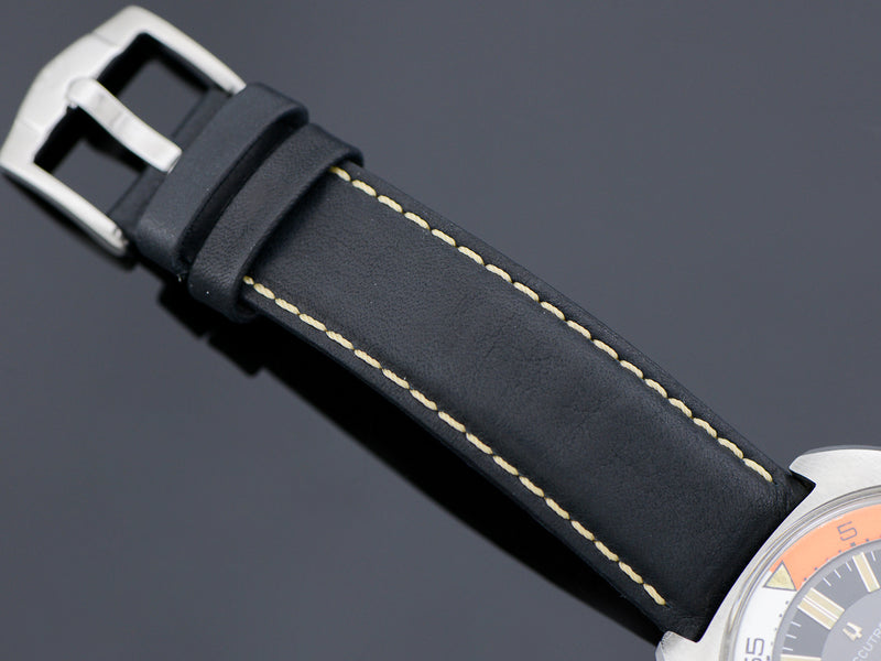 Brand New Genuine Bull Leather Black Band with White Stitching and matching Silver Tone Buckle