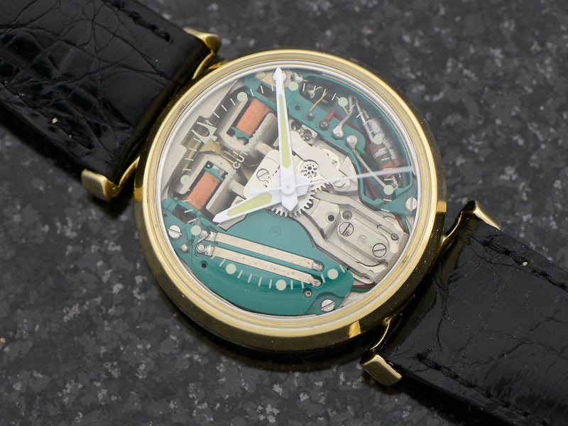 Bulova Accutron 14K Yellow Gold Floating Lugs Spaceview Watch