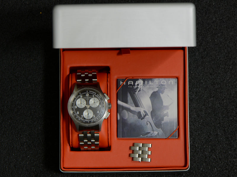 Hamilton Khaki Aviation Quartz Chronograph Watch With Box