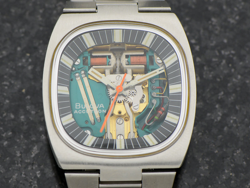 "Bulova Accutron Spaceview Steel Double Cushion ""T"" Watch With Original Bracelet"