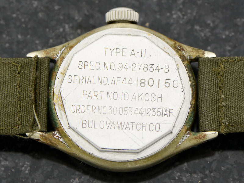 Bulova A-11 Air Force World War II Military Hacking Vintage Watch Case Back Engraving
