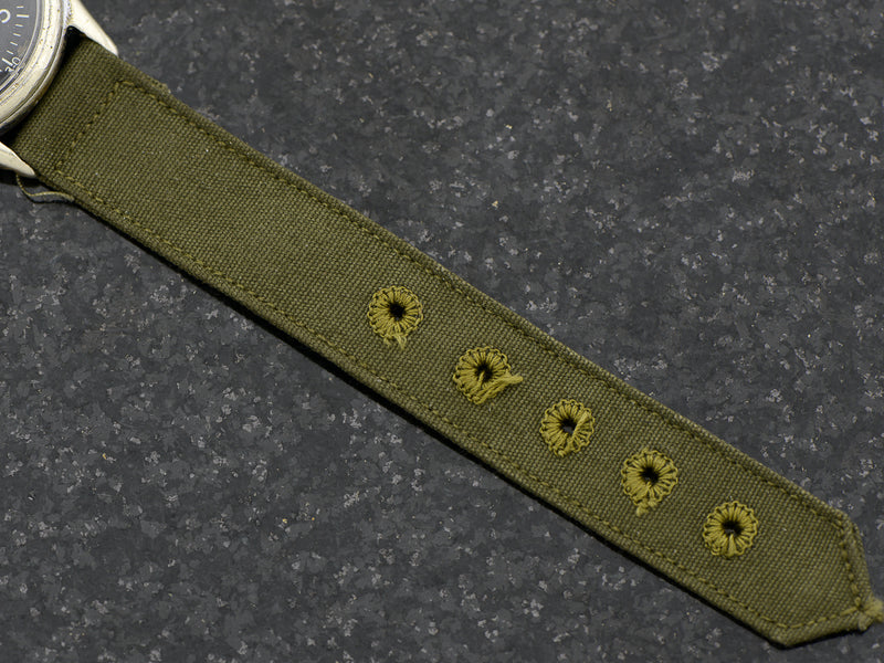 Vintage Green Nylon Strap, with matching Silver Tone  Buckle