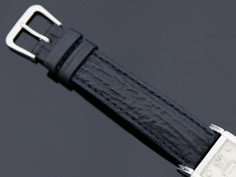Brand new genuine Shark Skin Black Watch Band with matching silver colored buckle
