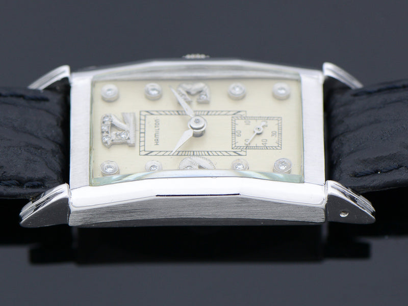 Hamilton Tank Private Label 14K White Gold Diamond Dial Watch