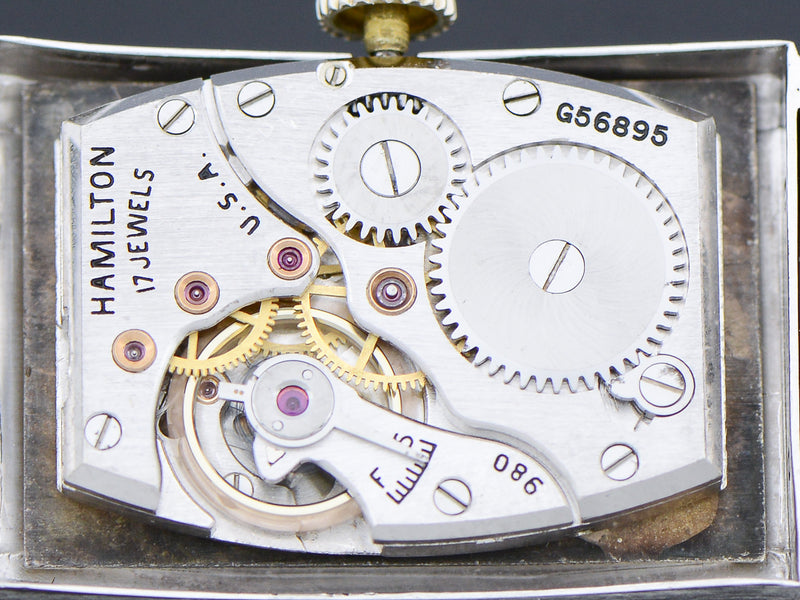 Hamilton Tank Private Label 14K White Gold Diamond Dial Watch Movement