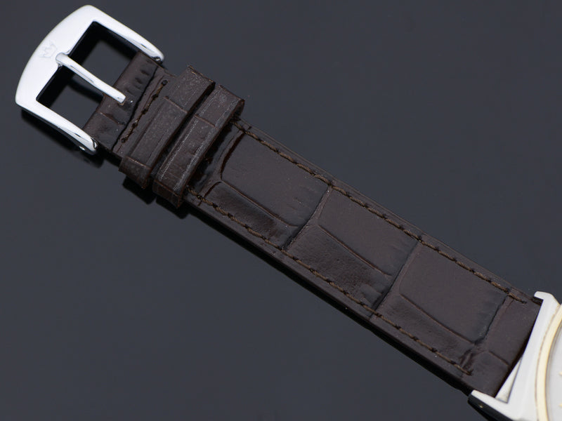 Brand New Genuine Leather Brown Alligator Grain Watch Band With Silver Tone Buckle Matching the Lugs