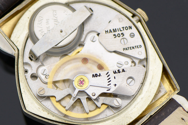 Hamilton Electric Pacer Silver Cross Hatch Dial Watch 505 Movement