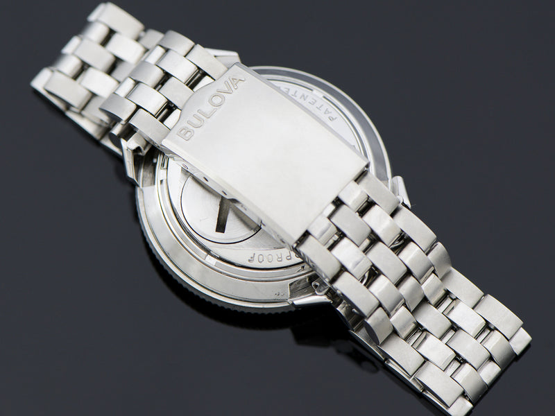 Stainless Steel Two Tone Bracelet (brushed & polished links) with Bulova marked Clasp
