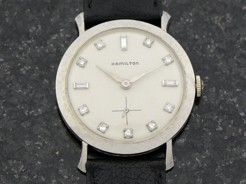 Hamilton 14K White Gold Diamond Dial Round Private Label