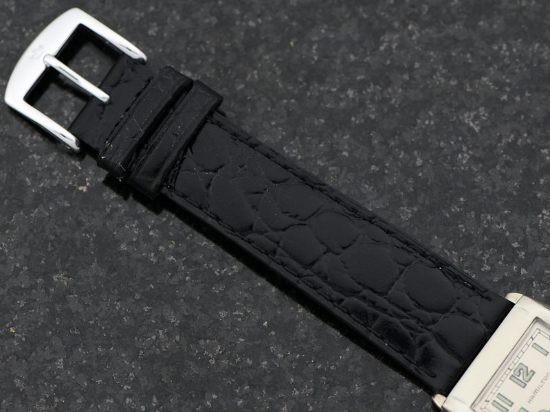 Brand New Genuine Leather Black Crocodile Grain Watch Band with matching silver tone buckle