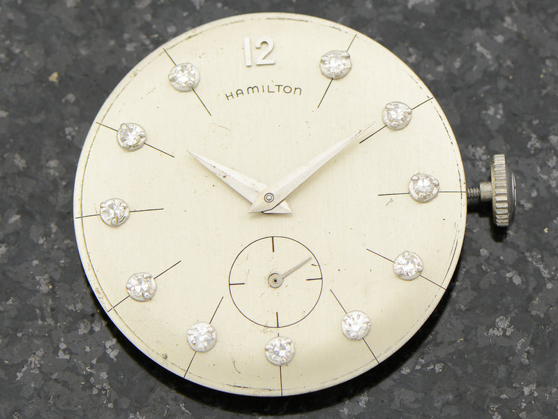 "Hamilton Bradford ""B"" 14K White Gold Diamond Dial Watch Dial"