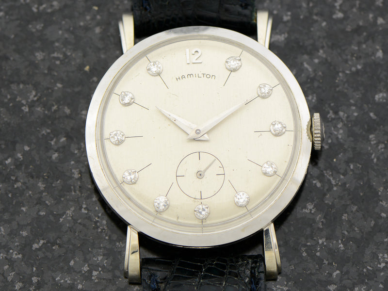 "Hamilton Bradford ""B"" 14K White Gold Diamond Dial Watch"