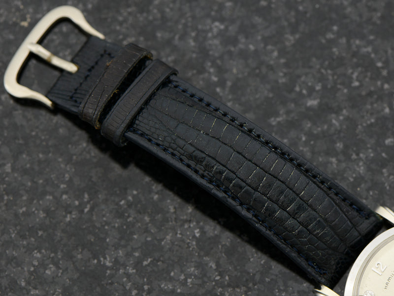 New Old Stock Genuine Lizard Dark Blue Hamilton marked Watch Band with silver tone buckle