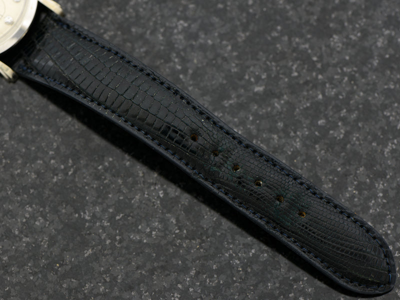 New Old Stock Genuine Lizard Dark Blue Hamilton marked Watch Band