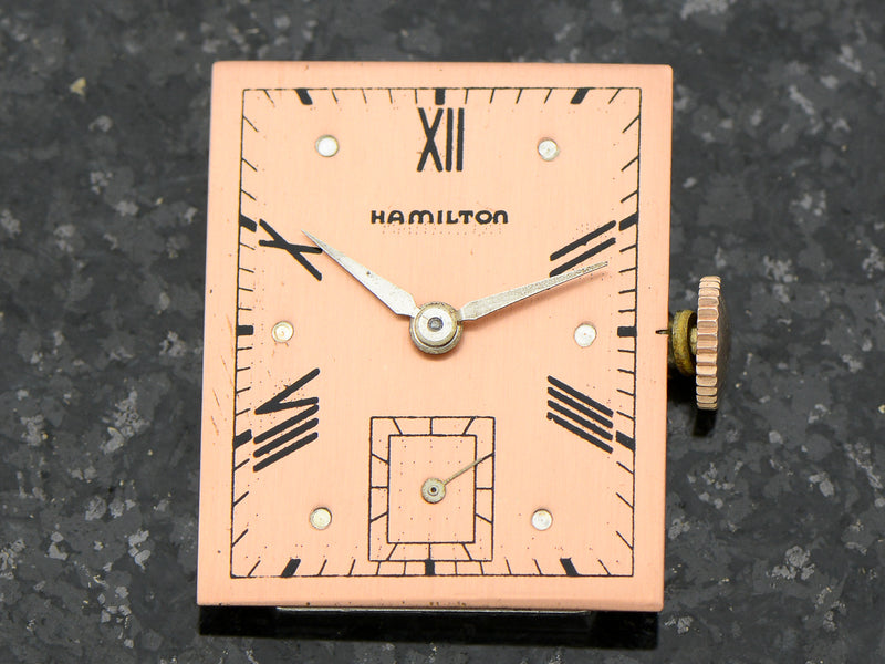 Hamilton 14K Coral Gold Rodney Vintage Watch Dial