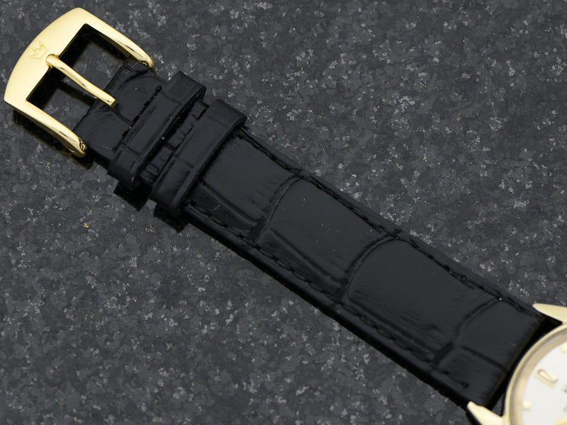 genuine Leather Crocodile Grain Black Band with Matching Gold Colored Buckle