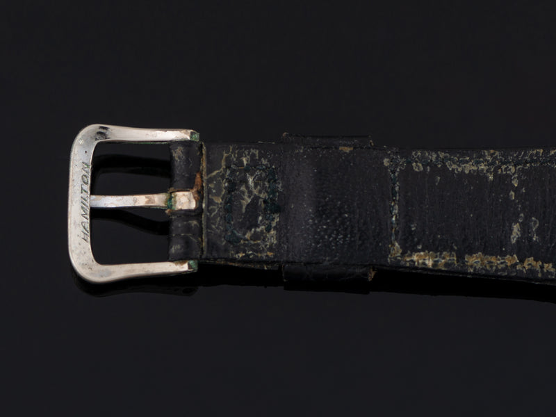 Used Hamilton genuine Alligator Black Band with matching silver colored buckle also marked Hamilton