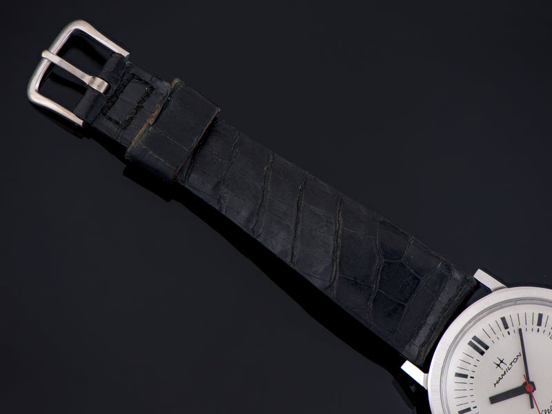 Used Hamilton genuine Alligator Black Watch Strap with matching silver colored buckle also marked Hamilton