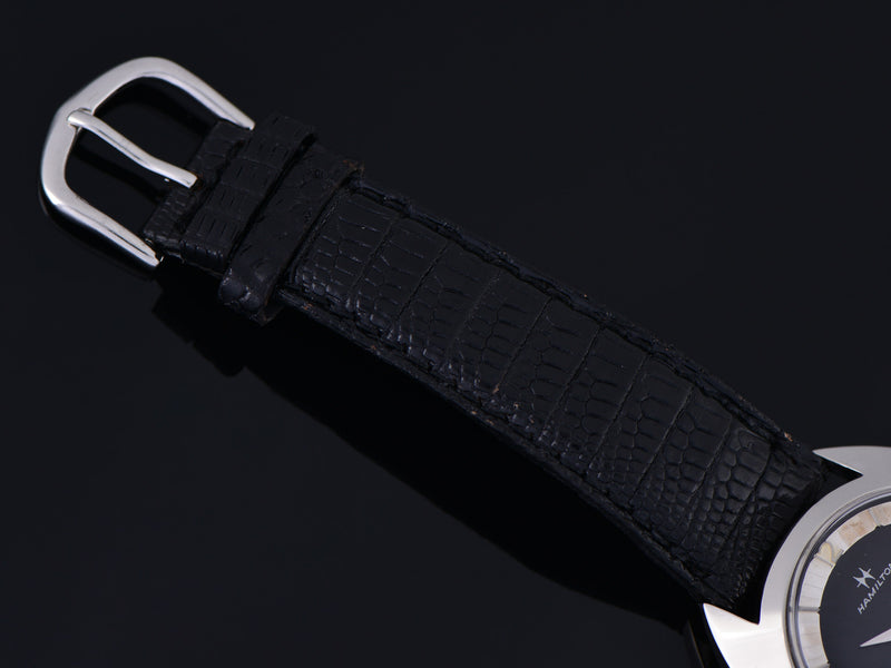 Vintage Genuine Lizard Black Watch Strap with matching Silver Colored Buckle