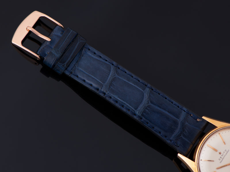 Zenith marked Genuine Crocodile Blue Strap with Matching Unmarked Rose Tone buckle