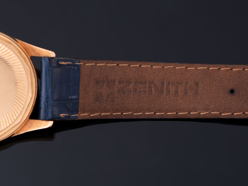 Zenith marked Genuine Crocodile Blue Strap