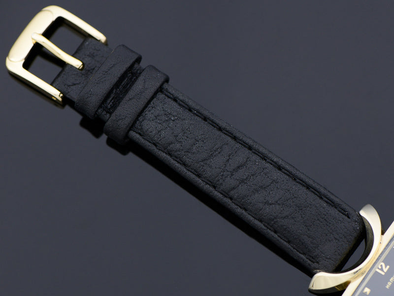 New Genuine Leather Black Band with matching gold tone buckle