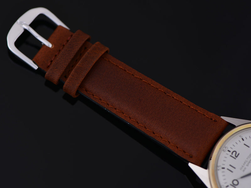 Brand new genuine Leather Brown Watch Strap with matching Silver Tone Buckle