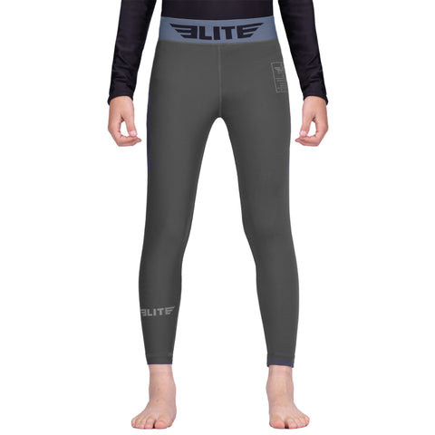 Elite Sports Gray Kids Compression Muay Thai Spat Pants