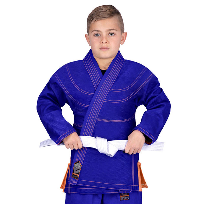 Elite Sports Essential Ultra Light Preshrunk Blue Kids Brazilian Jiu Jitsu BJJ Gi With Free White Belt