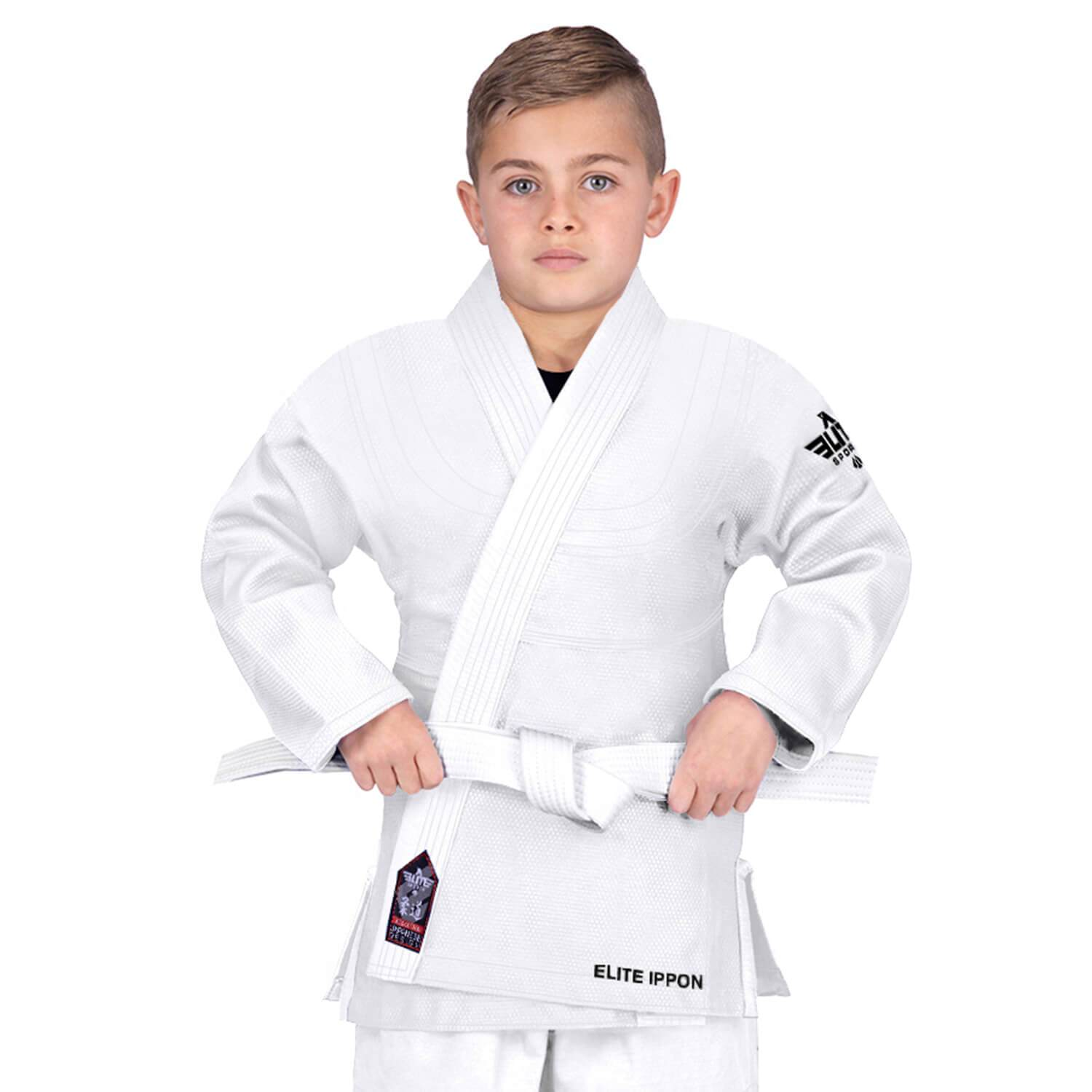 Elite Sports Ultra Light Preshrunk White Kids Judo Gi