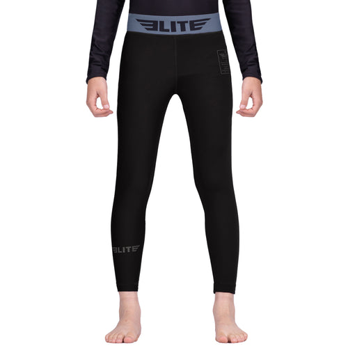Elite Sports Black Kids Compression Muay Thai Spat Pants