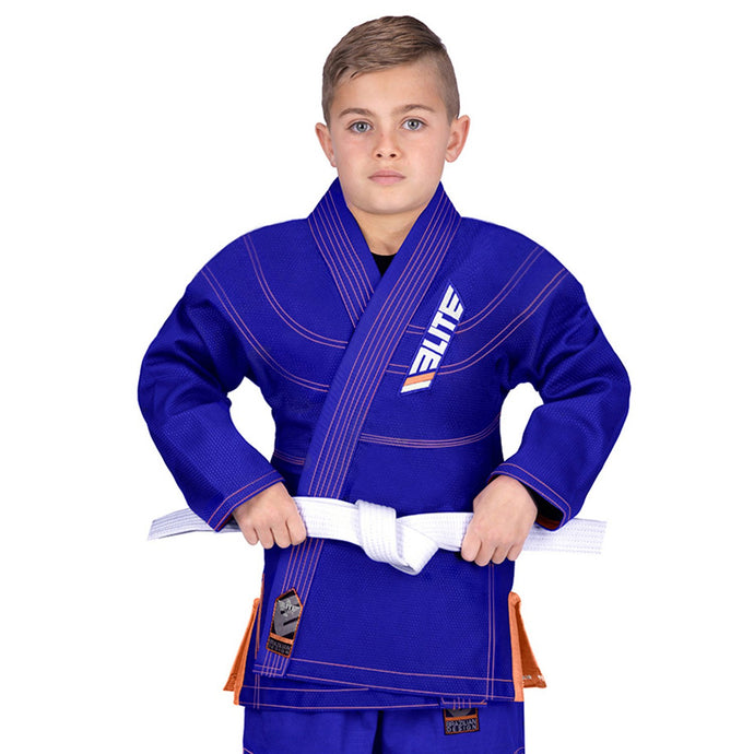 Elite Sports Ultra Light Preshrunk Blue Kids Brazilian Jiu Jitsu BJJ Gi With Free White Belt
