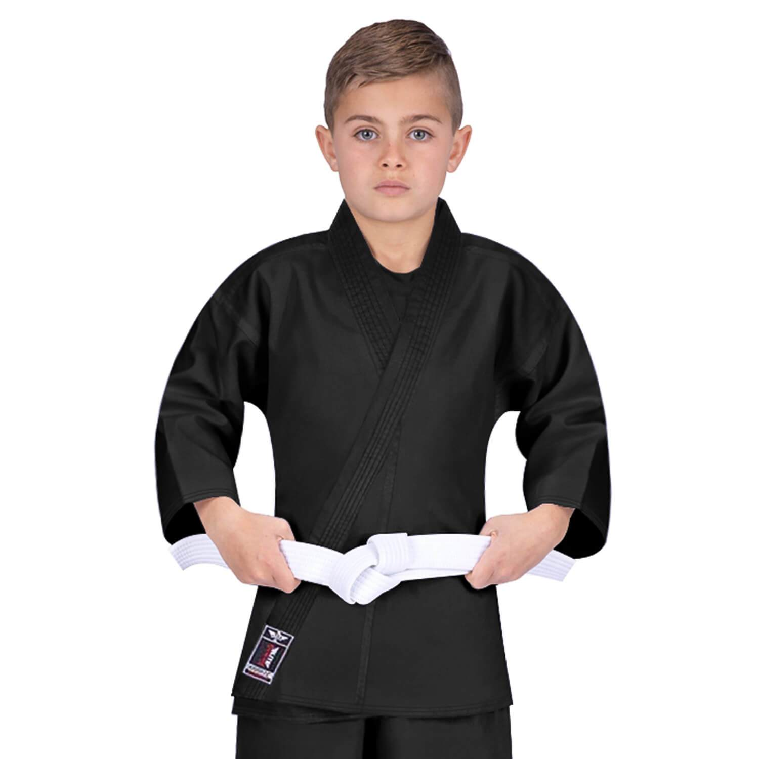 Elite Sports Ultra Light Preshrunk Black Kids Karate Gi