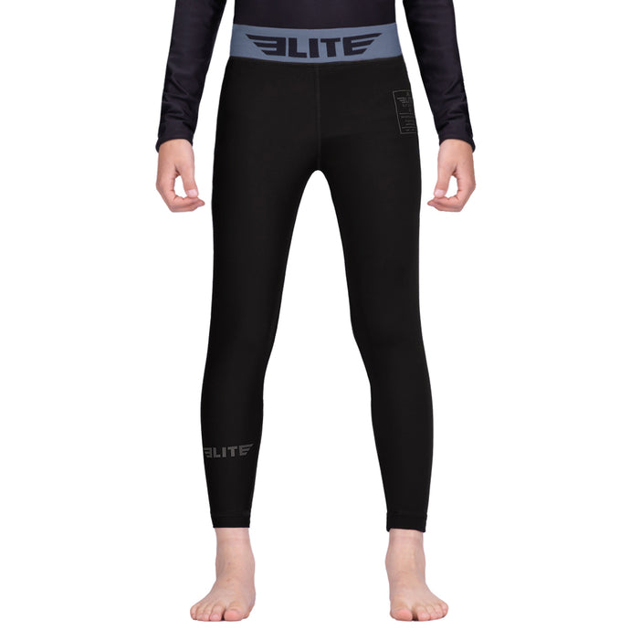 Elite Sports Black Kids Compression Taekwondo Spat Pants
