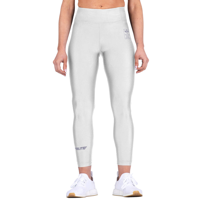 Elite Sports White Women Compression Training Spat Pants