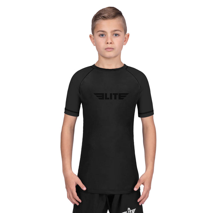 Elite Sports Standard Black Short Sleeve Kids Judo Rash Guard