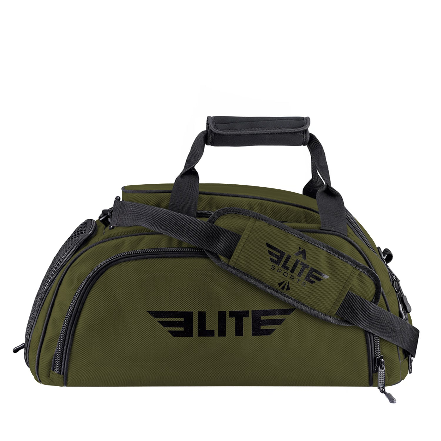 Elite Sports Warrior Series Military Green Medium Duffel Brazilian Jiu Jitsu BJJ Gear Gym Bag & Backpack