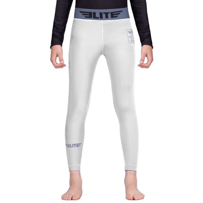 Elite Sports White Kids Compression Boxing Spat Pants