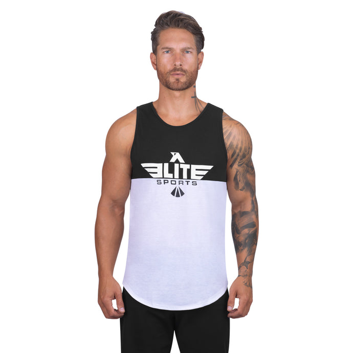 Elite Sports Black/White Men Training Tank Top
