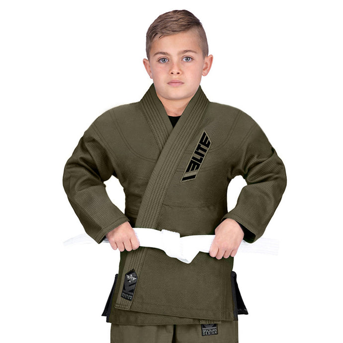 Elite Sports Ultra Light Preshrunk Military Green Kids Brazilian Jiu Jitsu BJJ Gi With Free White Belt