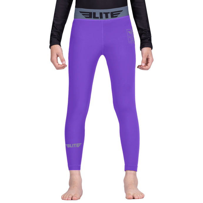 Elite Sports Purple Kids Compression Boxing Spat Pants