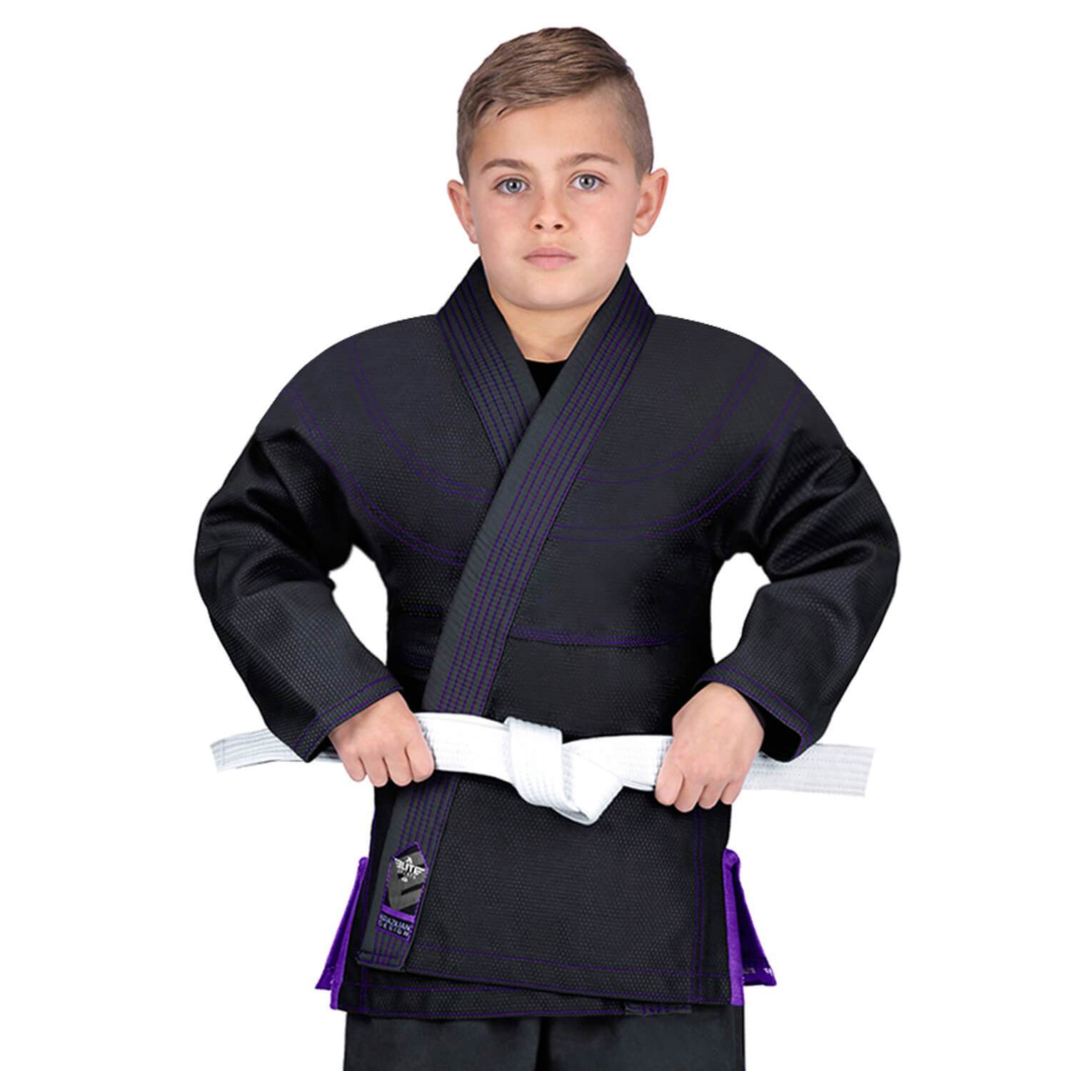 Elite Sports Essential Ultra Light Preshrunk Black Kids Brazilian Jiu Jitsu BJJ Gi With Free White Belt