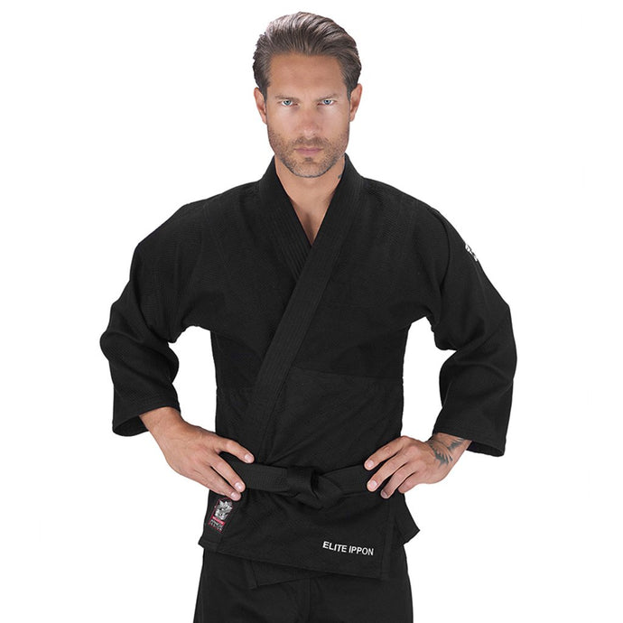 Elite Sports Ultra Light Preshrunk Black Adult Judo Gi